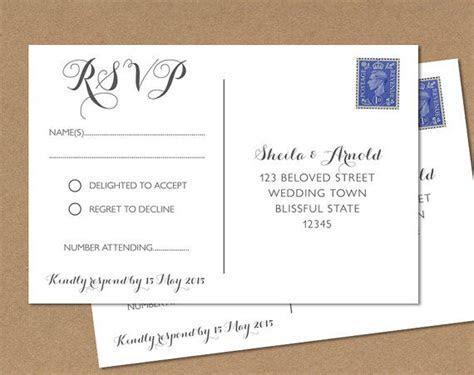 Postcard RSVP card Wedding RSVP Postcard   Any colour
