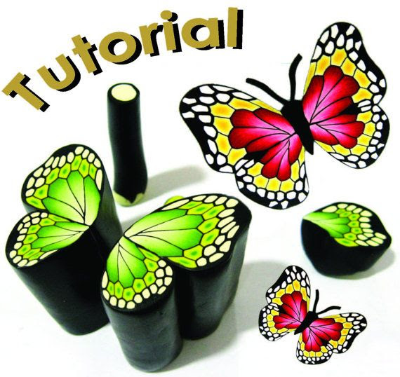 $18.00 Butterly cane tutorial by Marsdesign Etsy shop. http://www.etsy.com/listing/80655945/new-tutorial-butterfly-cane-polymer-clay