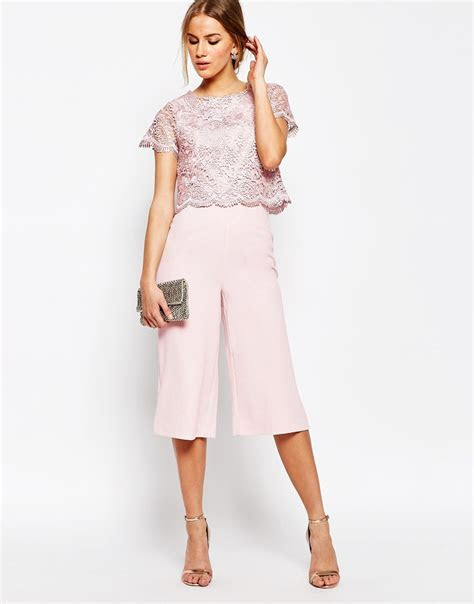 lyst warehouse lace culotte jumpsuit  pink