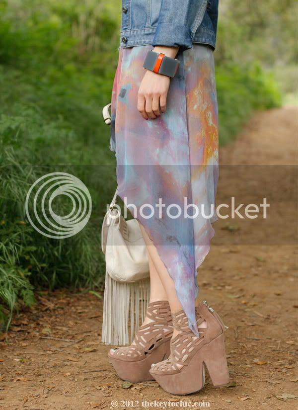 denim jacket, galaxy print dress, Michael Antonio Gallista heels, Los Angeles fashion blog, southern California street style