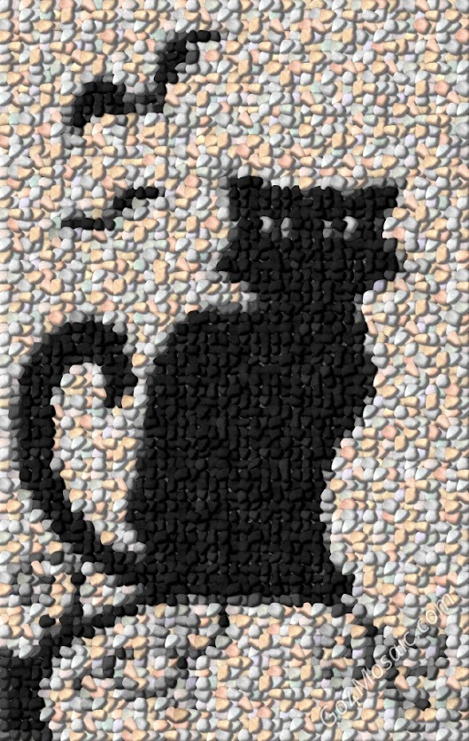 Black Cat mosaic from 3195 Pebbles - Go4mosaic Blog