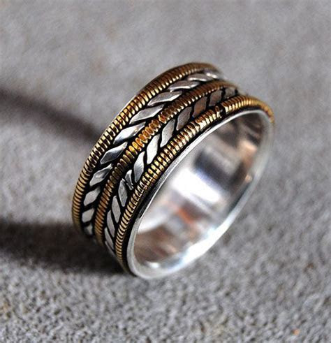 Buy a Hand Crafted Mens Wedding Ring With Bronze Guitar