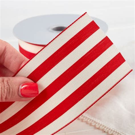 """2 1/2"""" Red and White Striped Ribbon   Ribbon and Trims"""