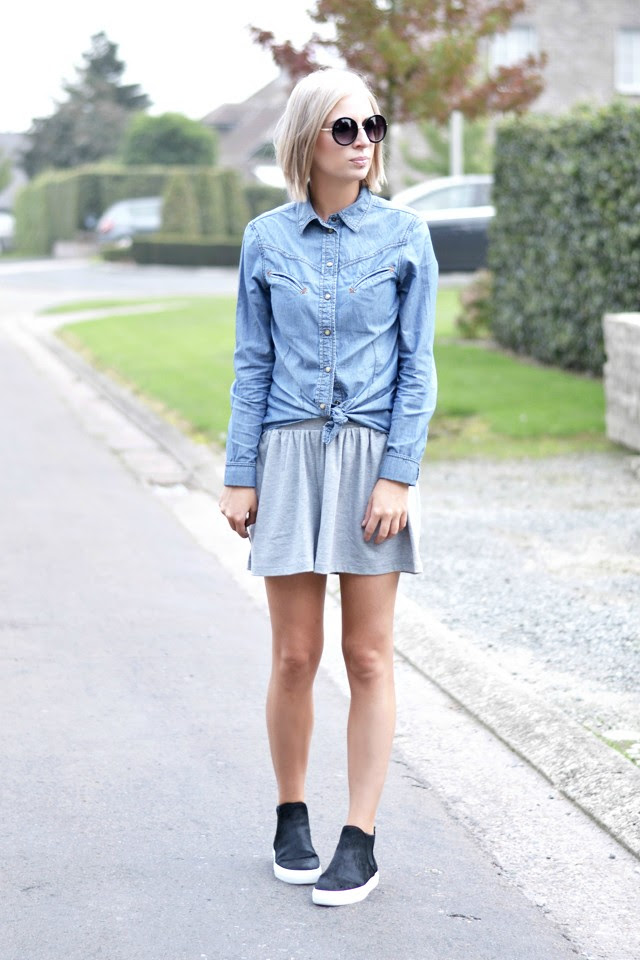 how to wear culotte shorts: asos grey culotte shorts, zara trf denim jeans shirt blouse, round sunglasses from primark, zara fall winter aw14 2014 14 pony hair fuy high top slip ons sneakers, outfit post by belgium fashion blogger turn it inside out, streetstyle inspiration