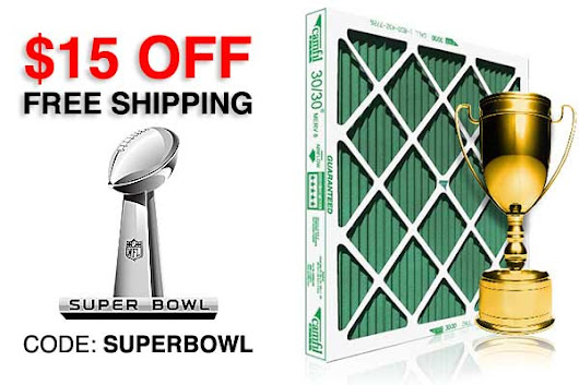 $15 off NOW on furnace filters, code: SUPERBOWL