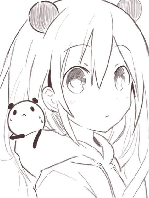 anime anime girl short white hair panda kawaii