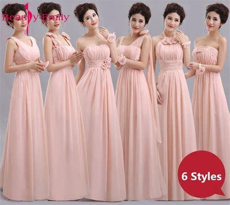 Beauty Emily Cheap Long Chiffon Blush Pink Bridesmaid