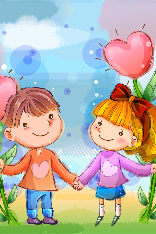 Download Cute Love Mobile Wallpapers Nokia E71 Cartoon Wallpaper Cartoon Love Kiss Wallpaper