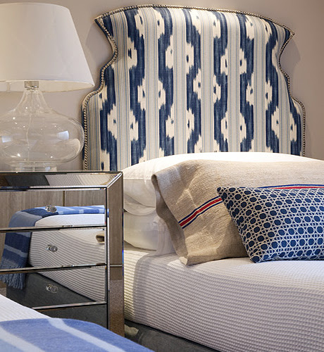 Suzie: Kim Stephen South Africa  Gorgeous blue fabric upholstered headboard with nailhead trim, ...