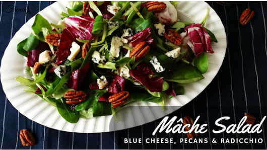 Mâche Salad With Blue Cheese, Pecans & Radicchio