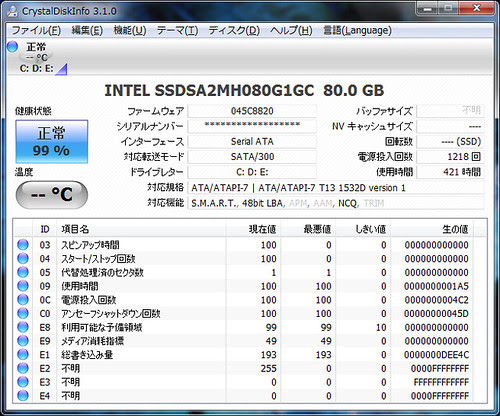 CrystalDiskInfo 3.1 on X25-M G1