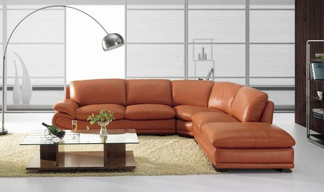 Elegant Top Grain Leather Sectional with Pillows - modern