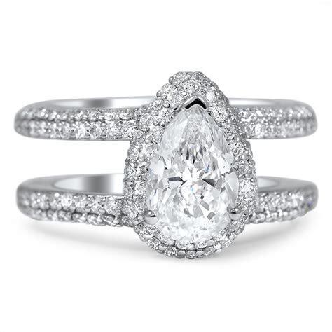 Custom Double Band Pavé Halo Diamond Ring   Brilliant Earth