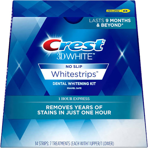 Crest 3D 1 Hour Express Dental Whitening Strips Kit - 14 Strips (7 Treatments)