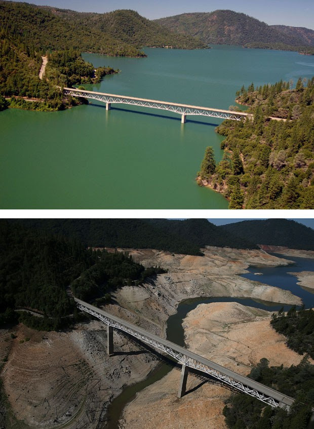 Montagem compara a região da Ponte Enterprise, que cruza o Lago Oroville, na Califórnia. A primeira foto é de 20 de julho de 2011. A segunda, de 19 de agosto de 2014. Terceiro ano consecutivo de seca obrigou o estado a tomar medidas drásticas para economizar água  (Foto: Justin Sullivan/Getty Images North America/AFP)
