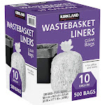 Kirkland Signature 10 Gal Clear Wastebasket Liners, 500-Count