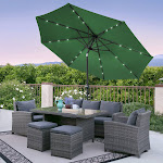 Best Choice Products 10' Deluxe Solar LED Lighted Patio Umbrella with Tilt Adjustment, Green