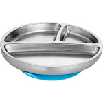 Avanchy Stainless Steel Suction Toddler Feeding Plate, Blue