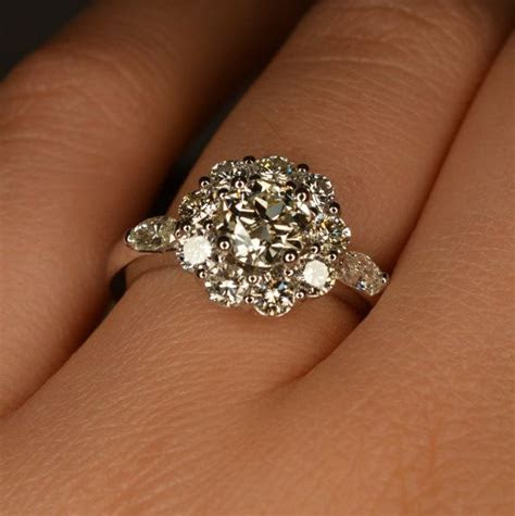 Art Deco Inspired Flower Shaped Engagement Ring (14K and