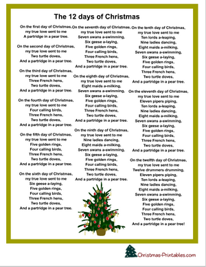 the 12 days of christmas carol printable