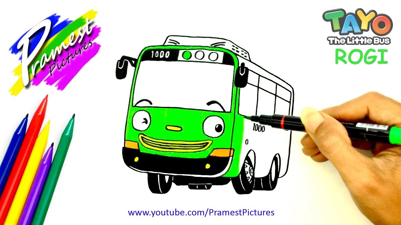 Rogi Menggambar Dan Mewarnai Gambar Mobil Tayo The Little Bus