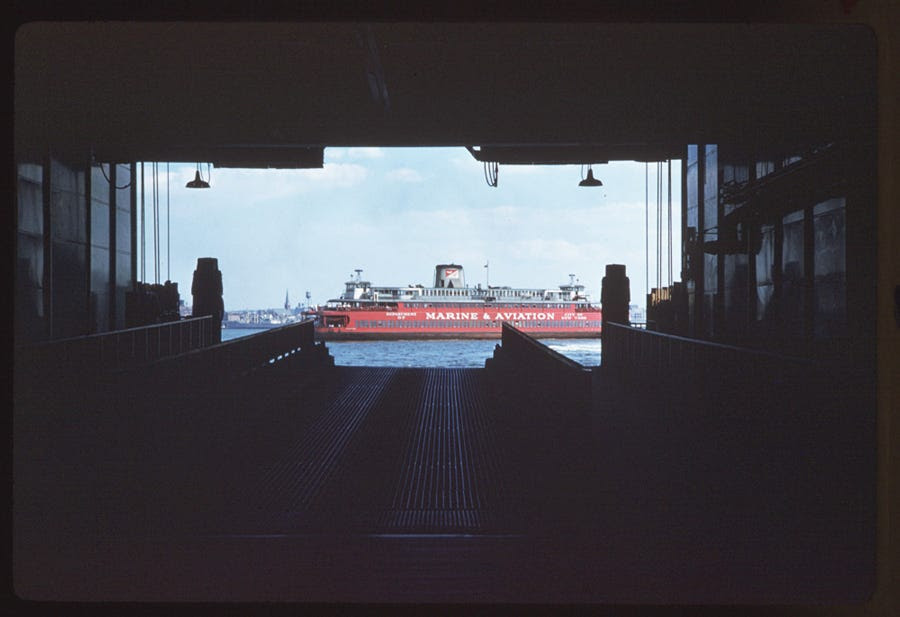Staten Island ferry, Lower Manhattan (1960)