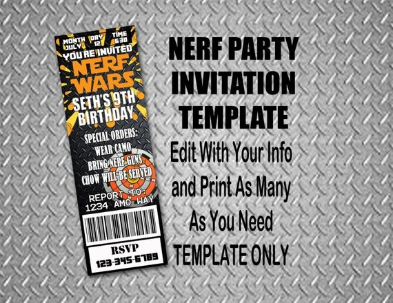 everything that i need: nerf wars birthday party, Party invitations