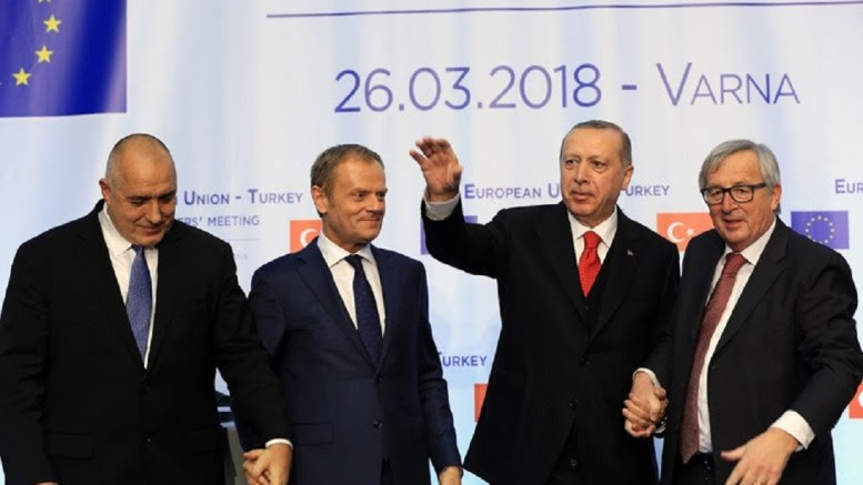 Bulgarian Prime Minister Boyko Borissov , European Council President Donald Tusk, Turkish President Recep Tayyip Erdogan, and European Commission President Jean-Claude Juncker during the summit meeting between the leaders of the European Union and Turkey on at Evksinograd Residence in the town of Varna, Bulgaria on 26 March 2018. Photo via Turkish Presidency