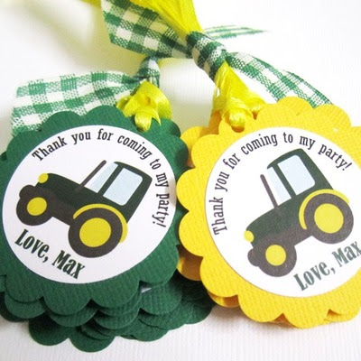Tractor farm party favor tags for boys