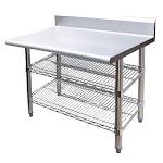 "Universal B5TS2472 - 72"" X 24"" Stainless Steel Work Table W/ Back Splash & Wire Under Shelf"
