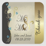 Vintage Classy Gold Floral Wedding Square Sticker