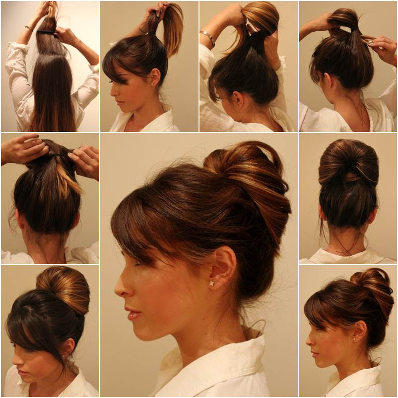 Hairstyle bun ponytail us trends news diy elegant inside out ponytail bun hairstyle solutioingenieria Image collections