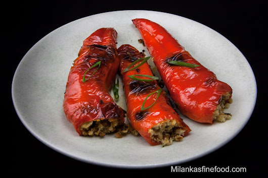 Filled Peppers, Crusted Chicken & Cucumber Salad - Milanka's Fine Food