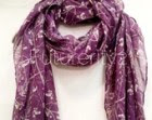 Grey Stem Small White Flower Seeds Spring Summer / Autumn Purple Scarf / Gift For Her / Women Scarves / Fashion Accessories