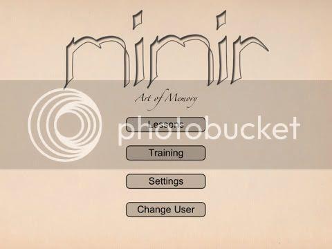 Mimir Art of Memory main menu