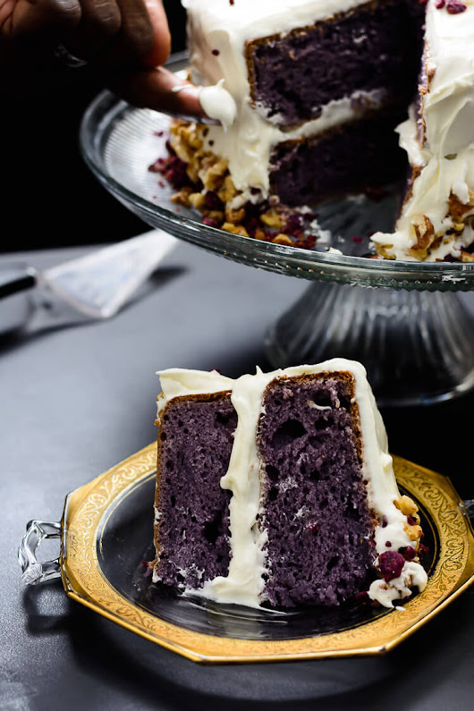 Purple Sweet Potato Cake with Marshmallow Cream Cheese Frosting - Yummy Medley