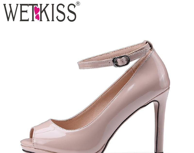 High Heels Shoes  Fast Promotion WETKISS 2018 New Arrive Ladies Shoes Woman  Pumps Sexy Peep toe Ankle Strap Patent Stiletto High Heel Shoes Female 8739b2b4b4d1