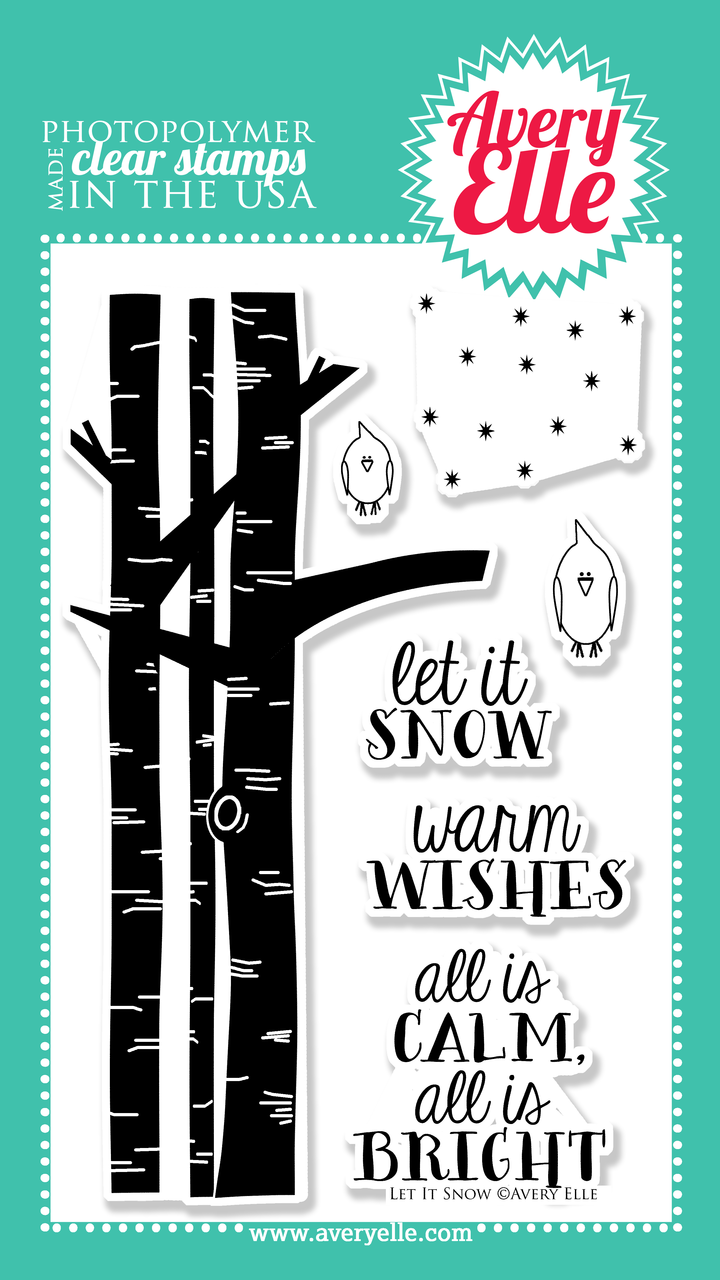 """Use our 4"""" x 6"""" Let It Snow clear stamp set to stamp a cute winter scene. This cute stamp set is perfect for the winter holiday season and is one that you will reach for over and over."""