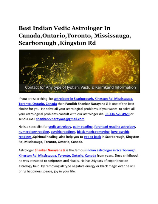 Best Indian Vedic Astrologer In Canada,Ontario,Toronto, Mississauga, Scarborough ,Kingston Rd