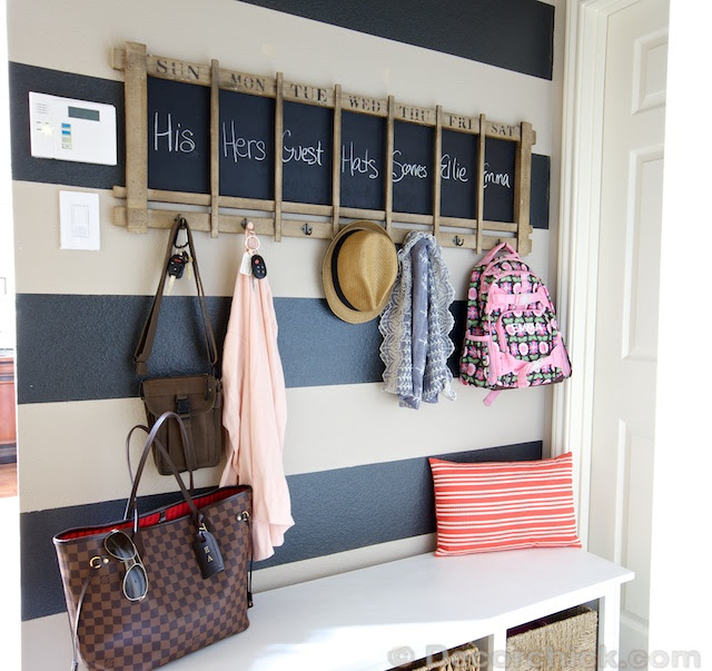 Mudroom Makeover Under $100! | And A Striped Wall - Decorchick!