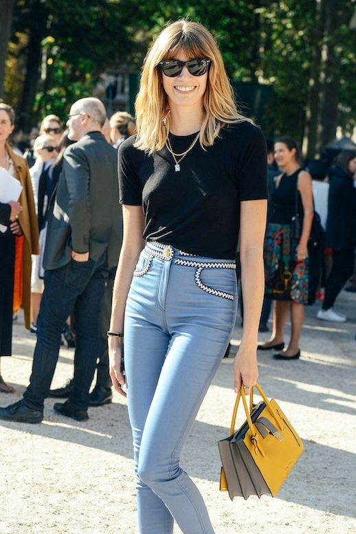 Le Fashion Blog Street Style Veronika Heilbrunner Retro Cool Summer Look Wayfarer Sunglasses Layered Necklaces Black Tee High Waisted Pants With Embroidered Details Bright Yellow Miu Miu Tote Via Vogue