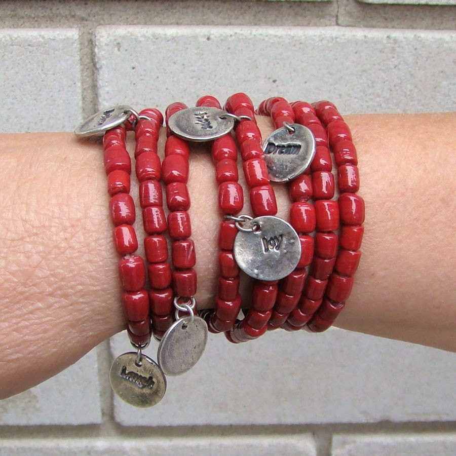 Red beaded bracelets with words of hope and inspiration charms