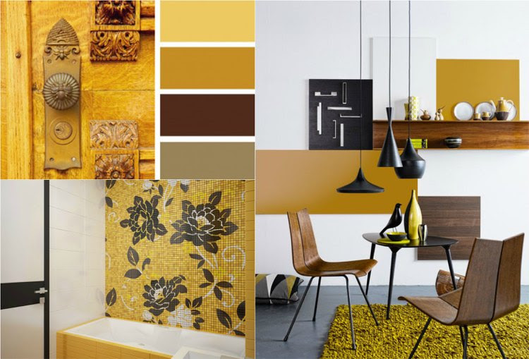 deko ideen farbe ocker kombinieren – goldocker farbe des