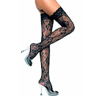 Luxury Divas Black Floral Lace Thigh High Stockings