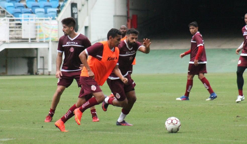 América-RN faz treino fechado na Arena das Dunas antes de encarar a Aparecidense (Foto: Canindé Pereira/América FC)