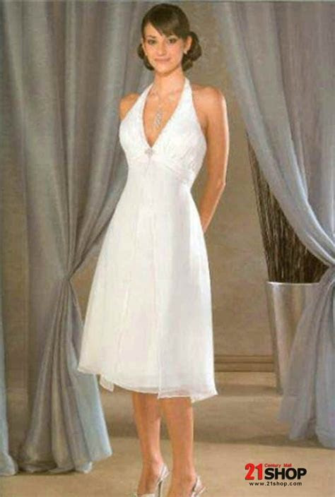 tea length wedding dresses   Halter Top Chiffon Tea Length