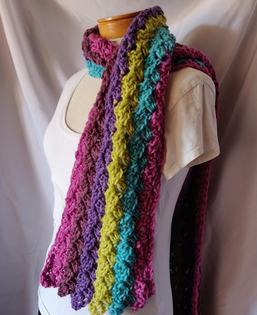Crochet Chunky Scarf in Purple Pink Turquoise Blue and LIme Ladies winter wrap long Wide Scarf – 910woolgathering