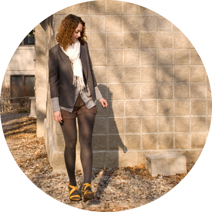 sandals with tights wedges yellow shorts blazer cardigan scarved gray curls dash dot dotty fashion blo