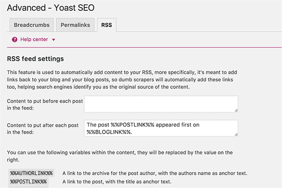 WordPress SEO plugin RSS header and footer settings