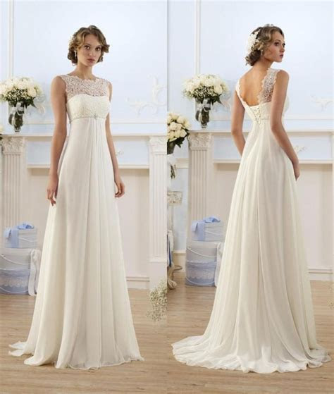 Lace Chiffon Empire Wedding Dresses 2017 Sheer Neck Capped